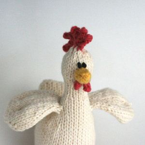 Hand knit organic cotton hen by Yarn Miracle