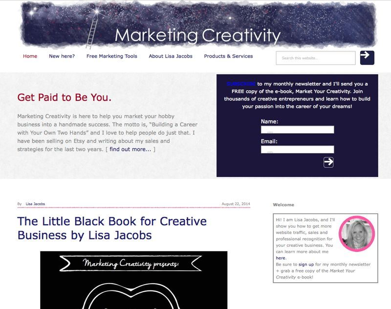 The old Marketing Creativity (by Lisa Jacobs) before the New Design, New Direction