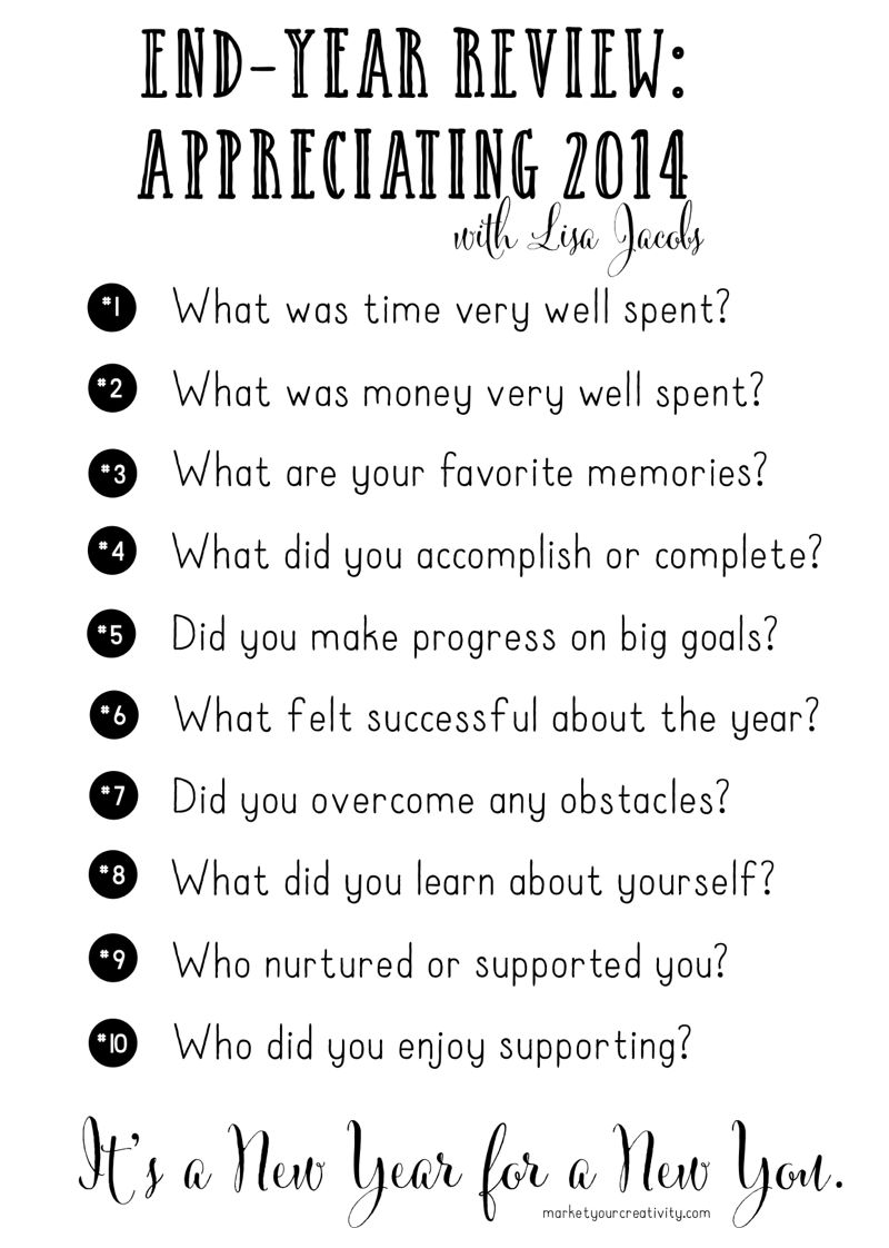 Ten questions for your end-year review | marketyourcreativity.com