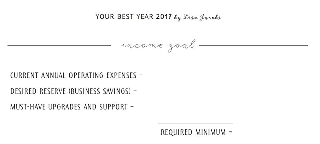 Required minimum (setting an income goal for business)