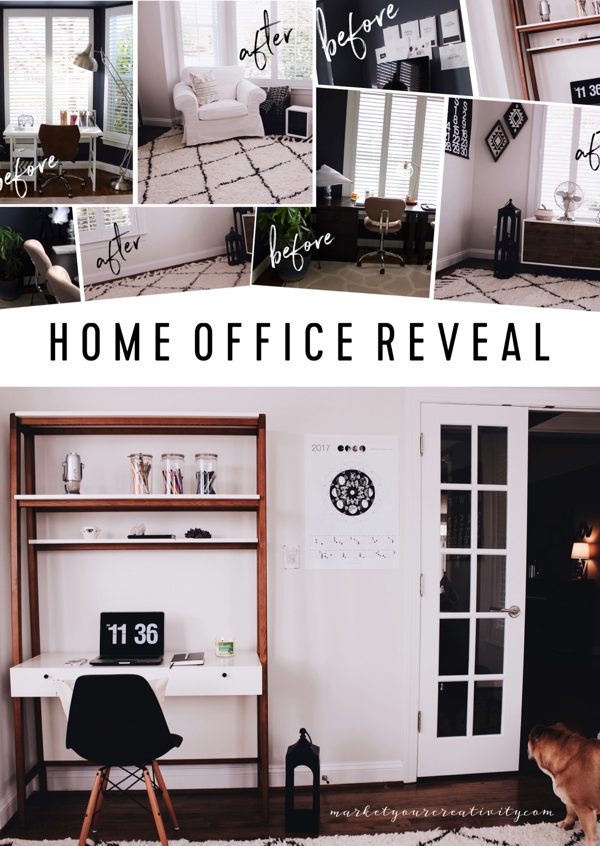 before and after home office reveal